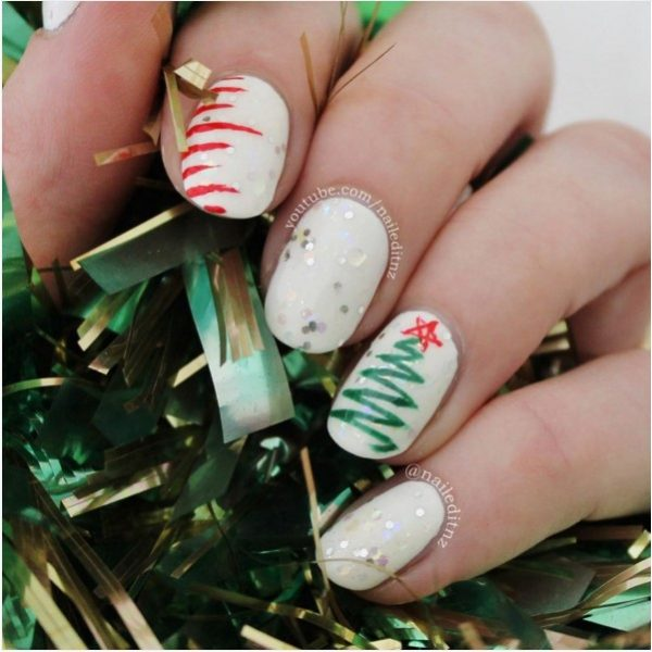 simple green christmas tree short nail art bmodish