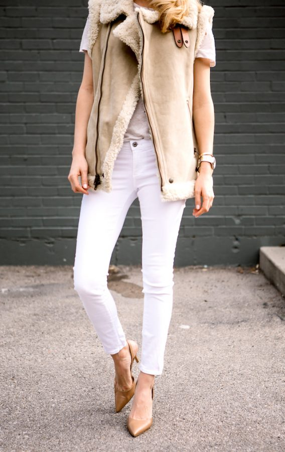 winter-white-jeans cream shearling vest bmodish