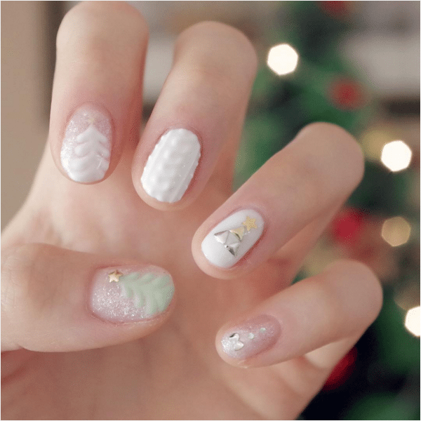 winter white short nail design bmodish