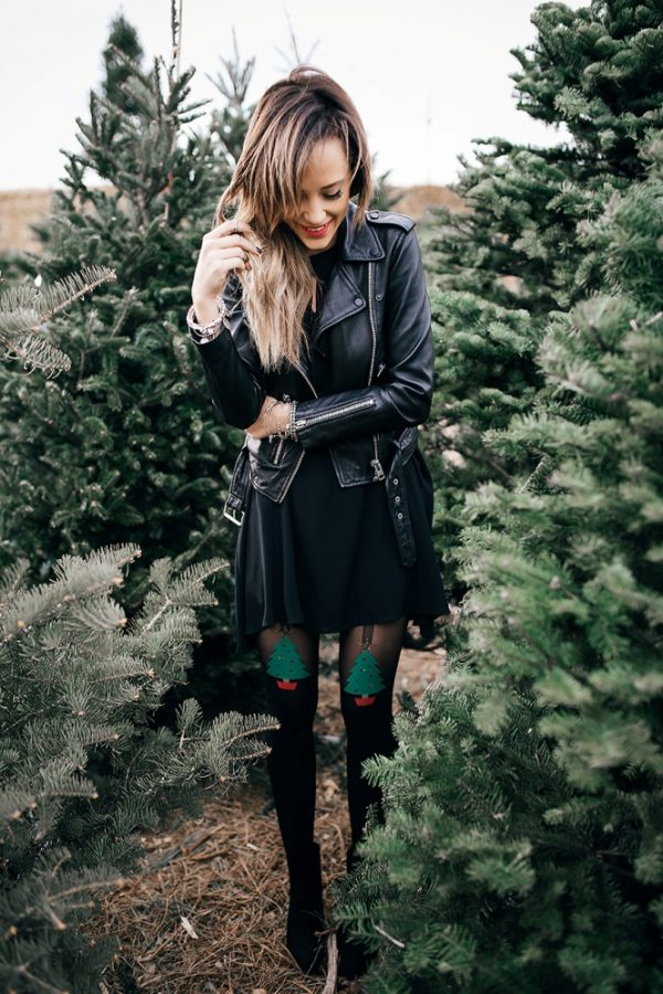 christmas patterned tights cute outfit bmodish