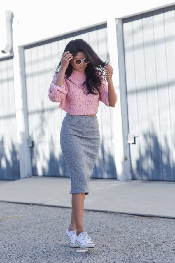 cropped pink sweater with pencil skirt and converse outfit bmodish