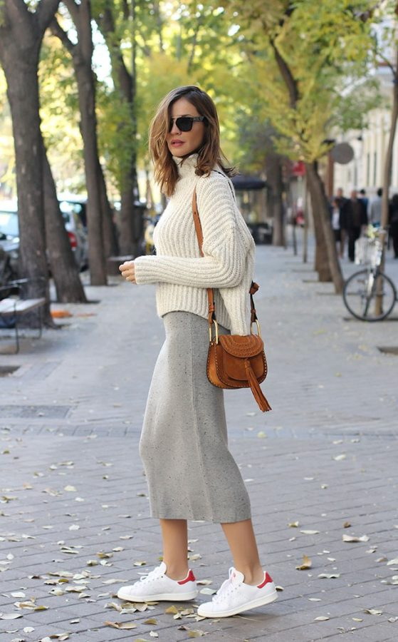 cropped sweater with knit skirt bmodish