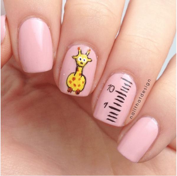 cute giraffe pink nail design bmodish