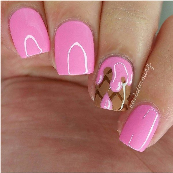 cute pink ice cream nail art bmodish