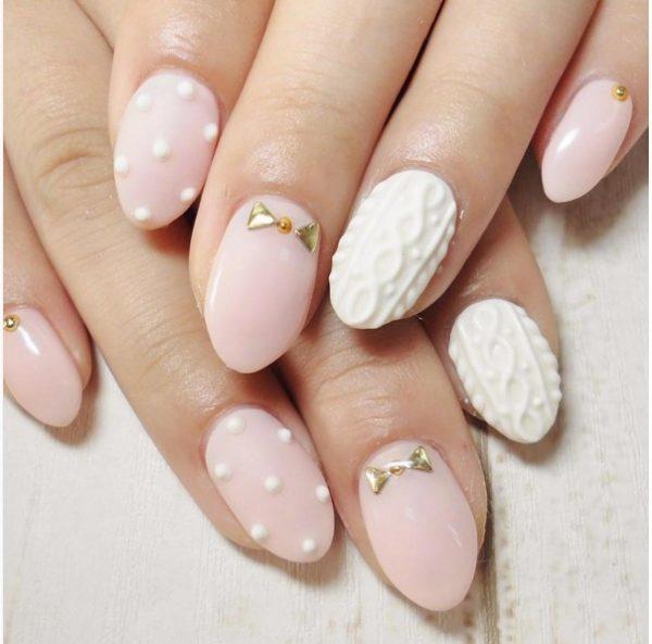 cute pink polka dot knit nail bmodish