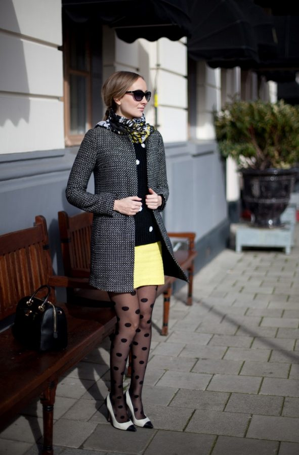 dots patterned tights outfit look bmodish