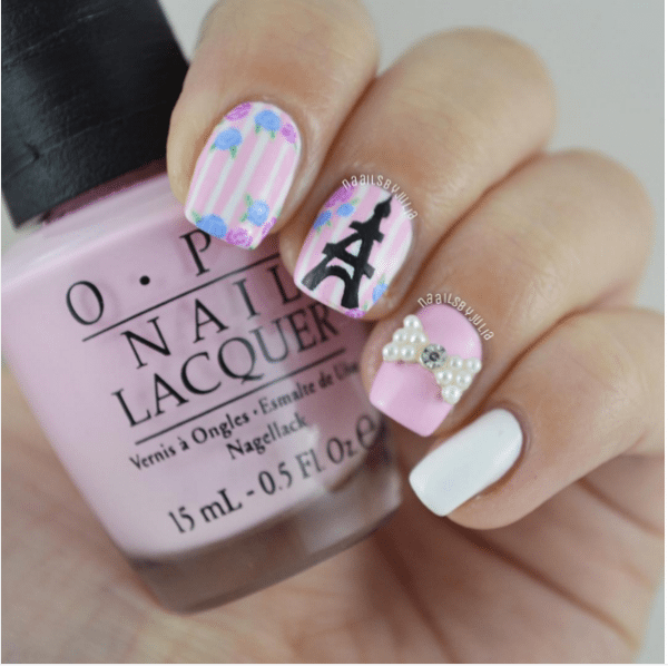 eiffeltower and flowers cute pink nail design bmodish