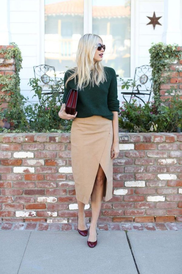 forest green sweater with camel skirt bmodish