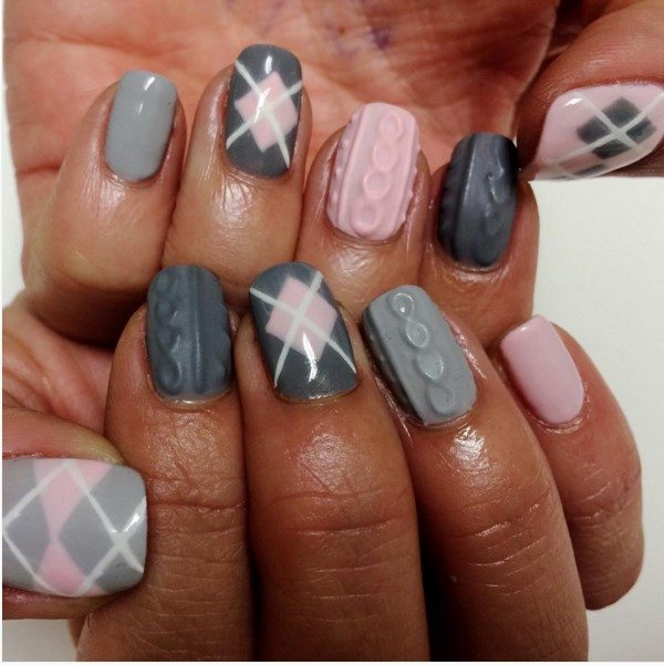 grey and pink knit sweater nail design bmodish