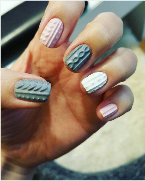grey and pink sweater nail design bmodish