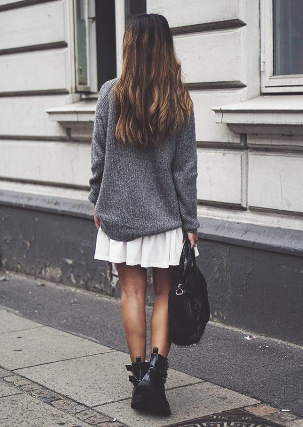 grey cozy sweater with mini skirt bmodish