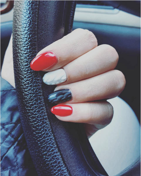 hot red and black knit sweater nails bmodish