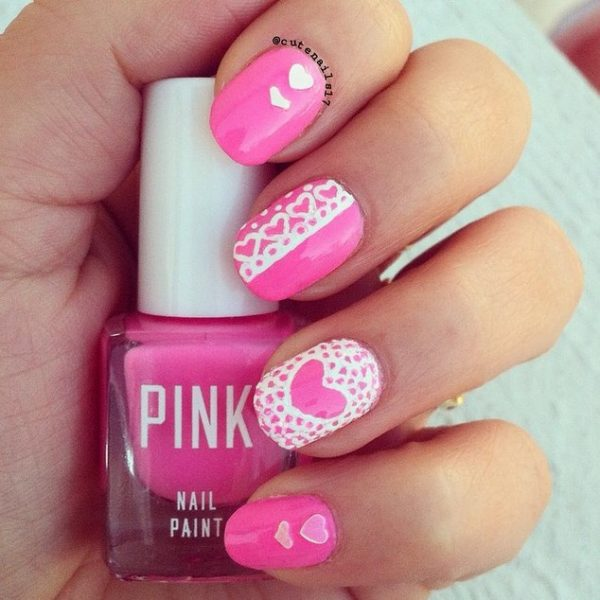 lace valentine pink manicure bmodish