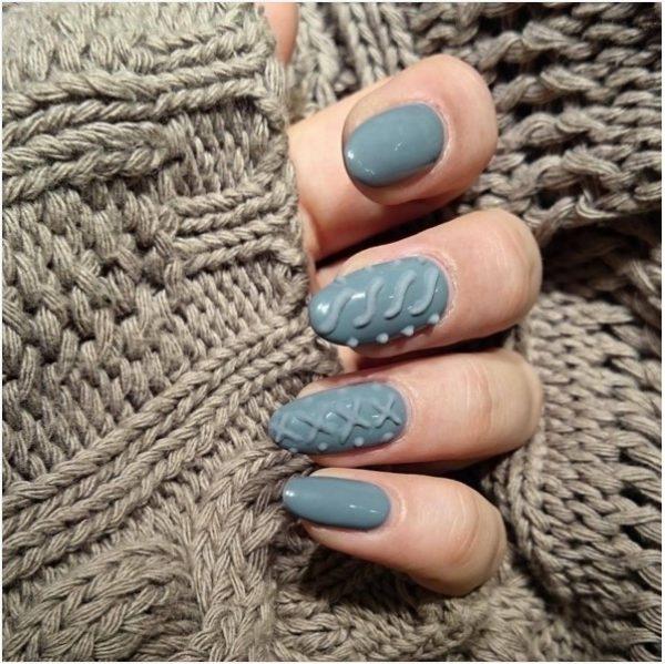 light grey sweater knit nails bmodish