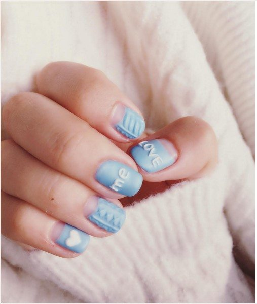 love me soft blue knit nail design bmodish
