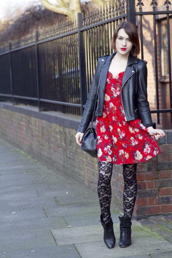 motto jacket floral red dress and leggings bmodish