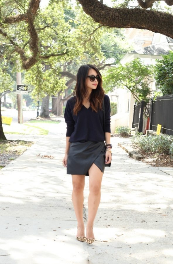 navy v neck sweater with leather mini skirt bmodish