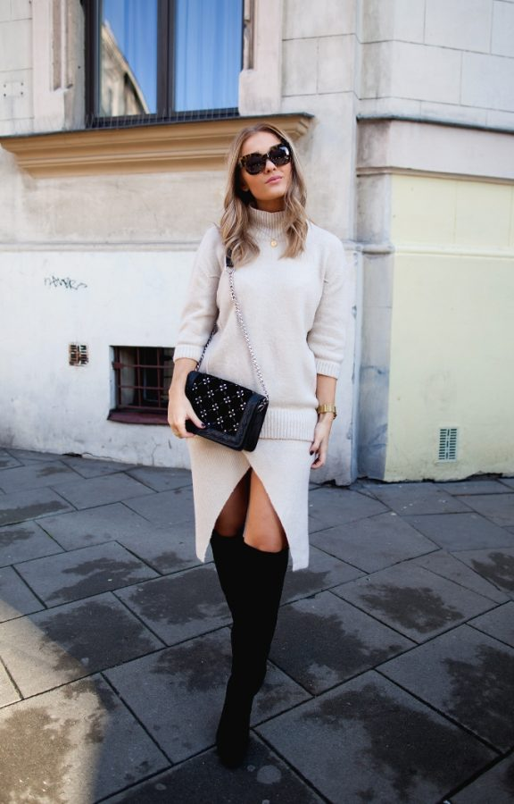 neutral sweater and slit skirt fall fashion bmodish
