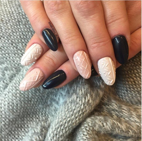nude and black sweater nails bmodish