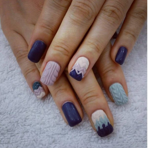 ombre sweater knit nail art bmodish