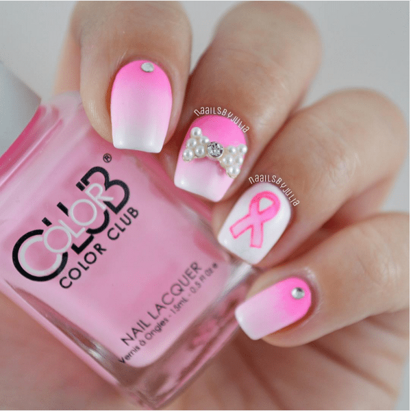 ombre pink breast cancer awareness nail design bmodish