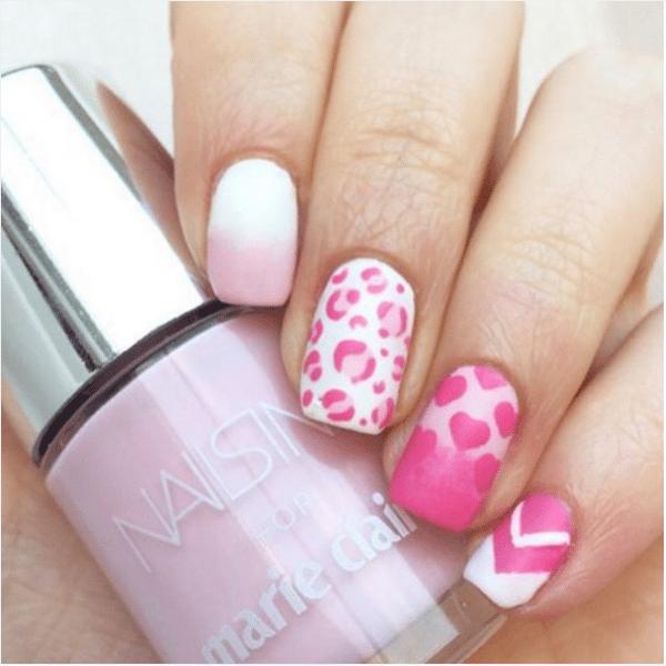 ombre pink mix match nail art bmodish