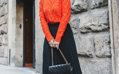 orange sweater with pleated midi skirt outfit bmodish