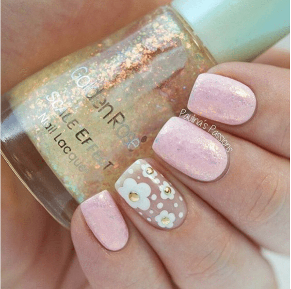 pale pink with gold flower accent nail design bmodish