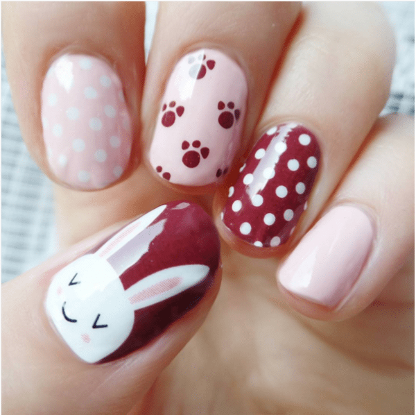 pink and burgundy cute bunny nail design bmodish