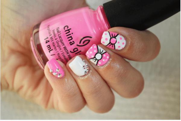 pink and white bow nail design bmodish