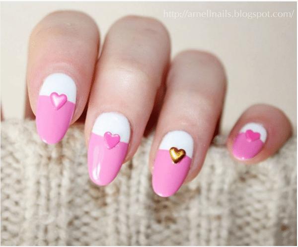 pink and white cute valentine nail design bmodish