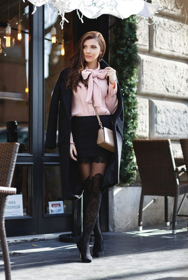 pink blouse with mini skirt and patterned tight outfit bmodish
