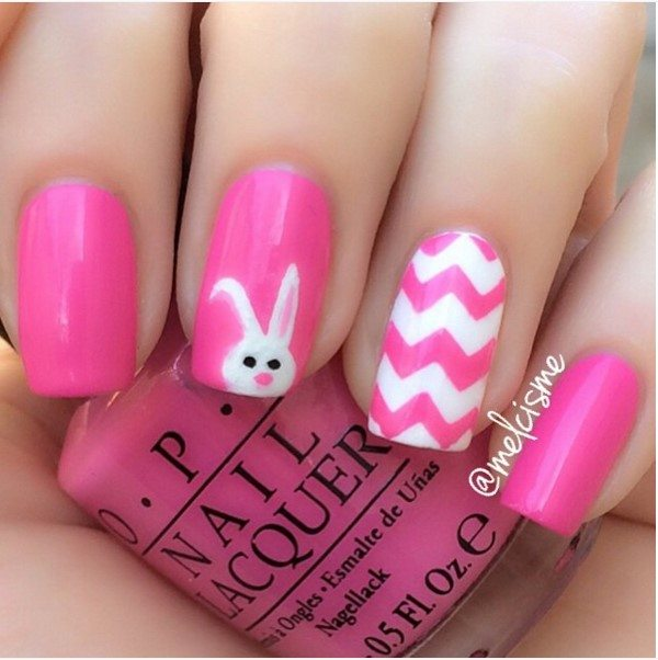 pink bunny nail art bmodish