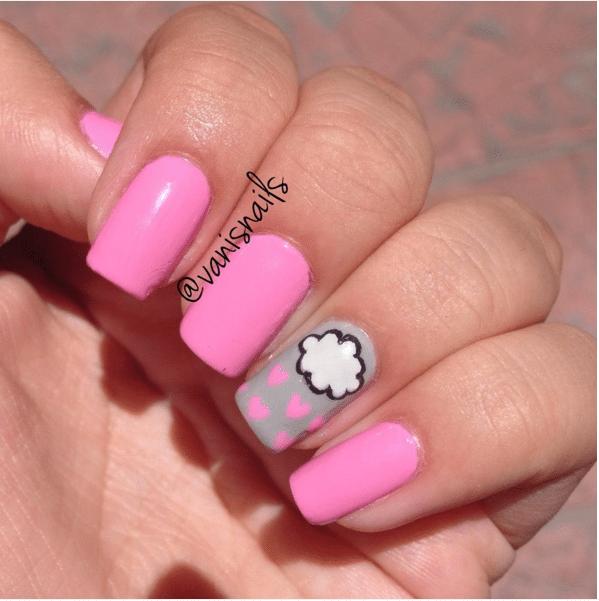 pink cloud cute nail art bmodish