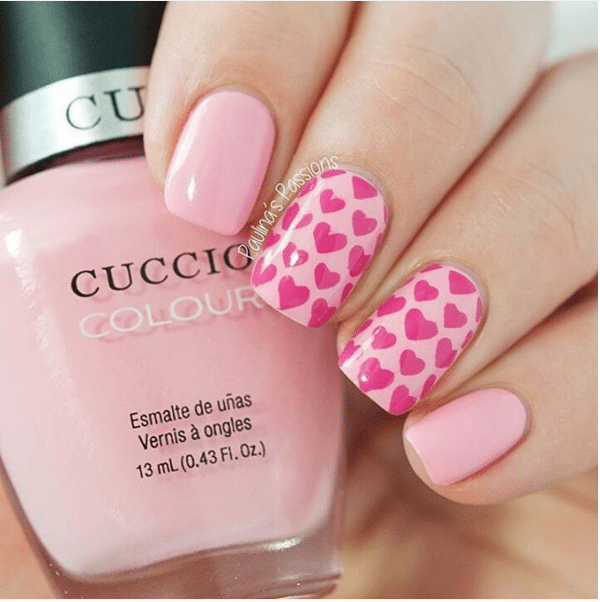 pink cute hearts nail design bmodish