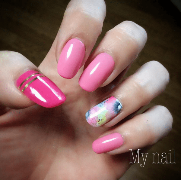pink floral accent nail design bmodish