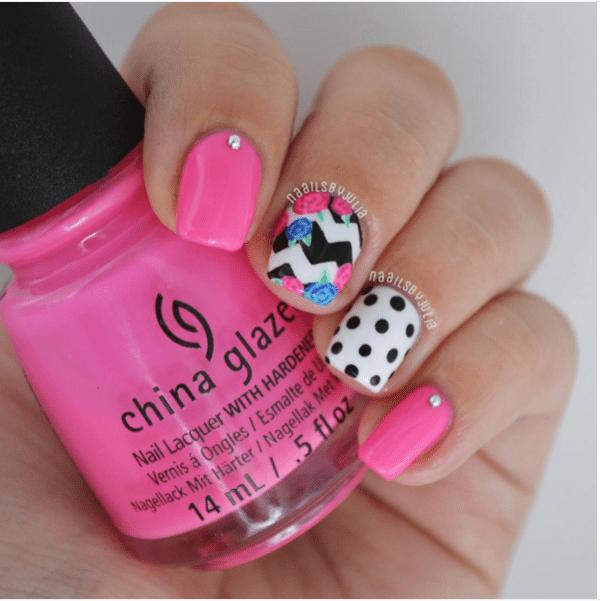 pink mix match nail art bmodish