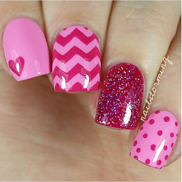 pink on pink mix and match nail art bmodish