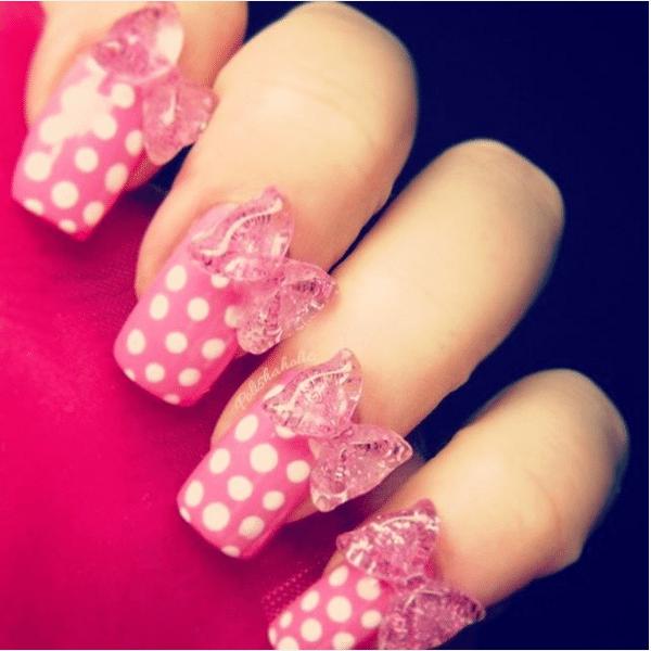 pink polka dot and bow cute nail art bmodish