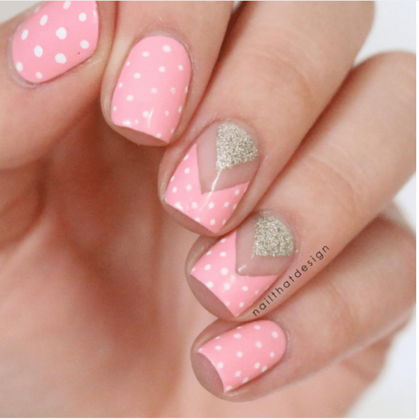 pink polka dot and negative space nail design bmodish
