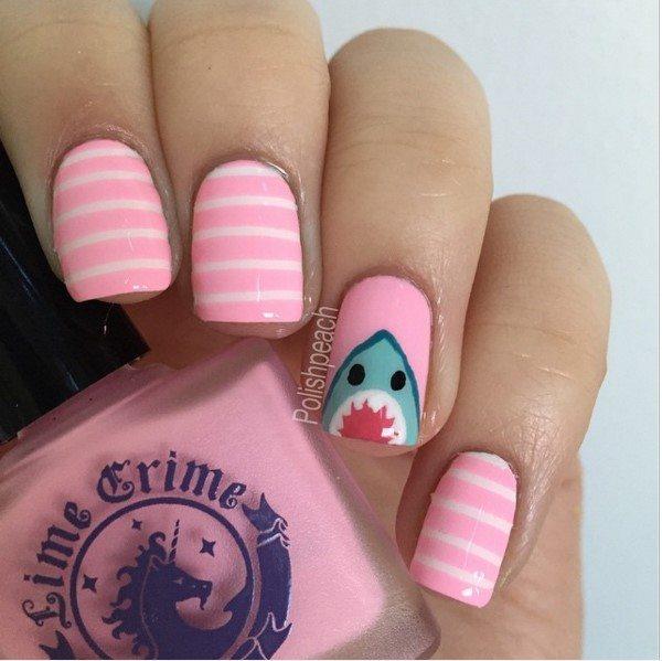 pink shark nail art bmodish