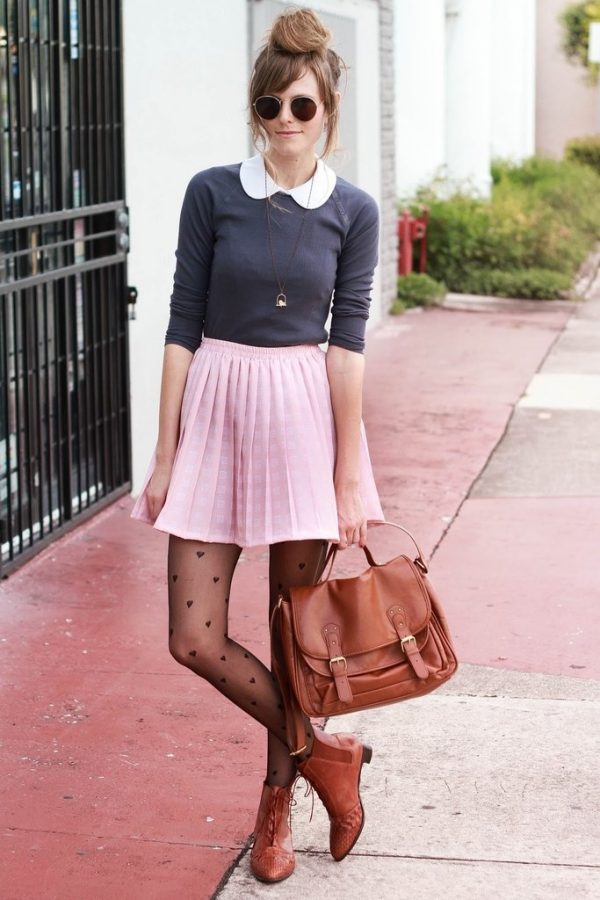 pink-skater-skirt and tights bmodish