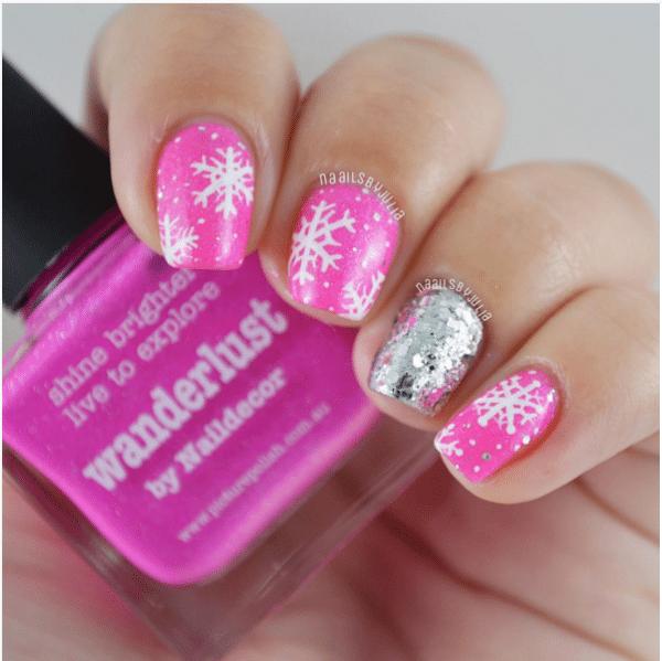 pink snowflake mani bmodish