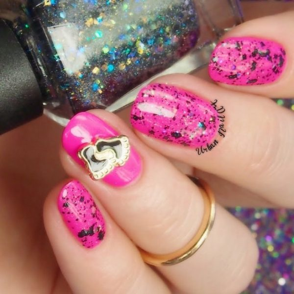 pink with black splatter nails bmodish
