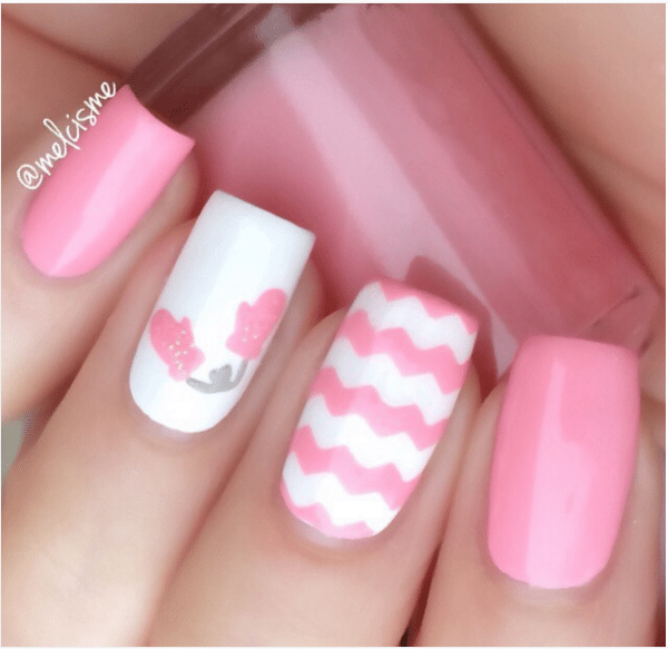 pink zig zag cute nail design bmodish - 33 Cute Pink Nail Designs You Must See - Page 2 Of 2 - Be Modish