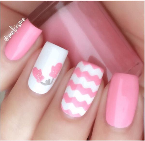 pink zig zag cute nail design bmodish