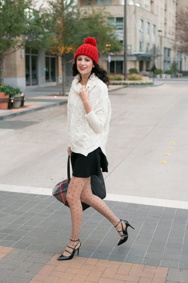 polka dot patterned tights with sweater and skirt bmodish