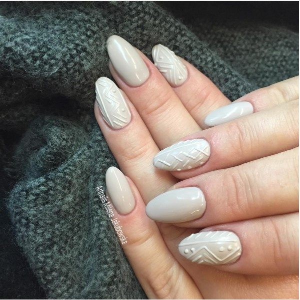 pretty white sweater nails bmodish