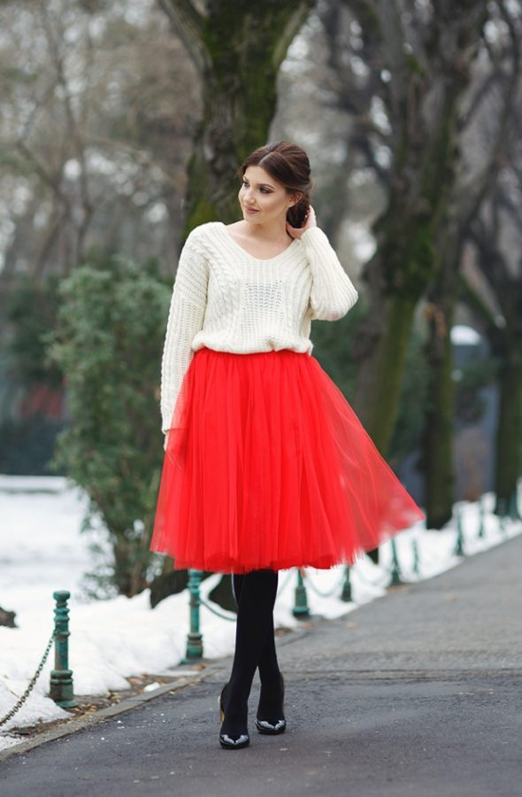 red tutu skirt and sweater outfit bmodish