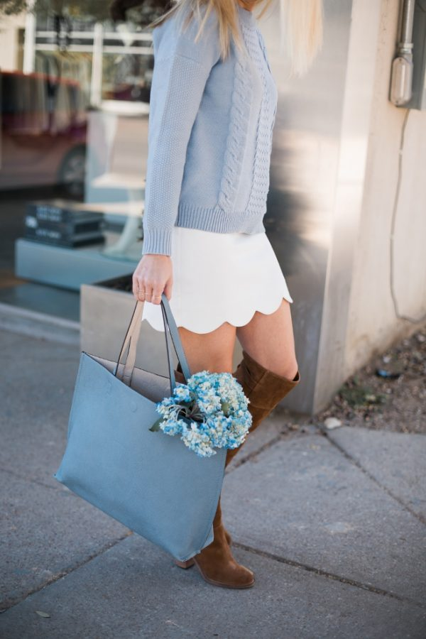 scallop skirt with sweater and high boots bmodish